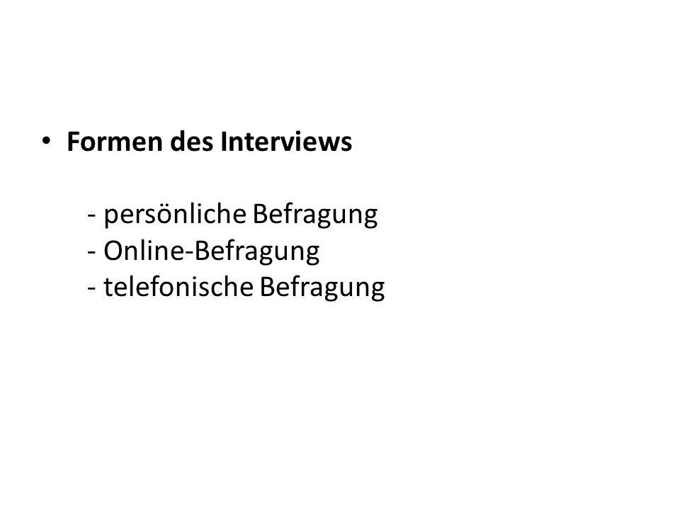 Formen des Interviews - persönliche Befragung - Online-Befragung - telefonische Befragung