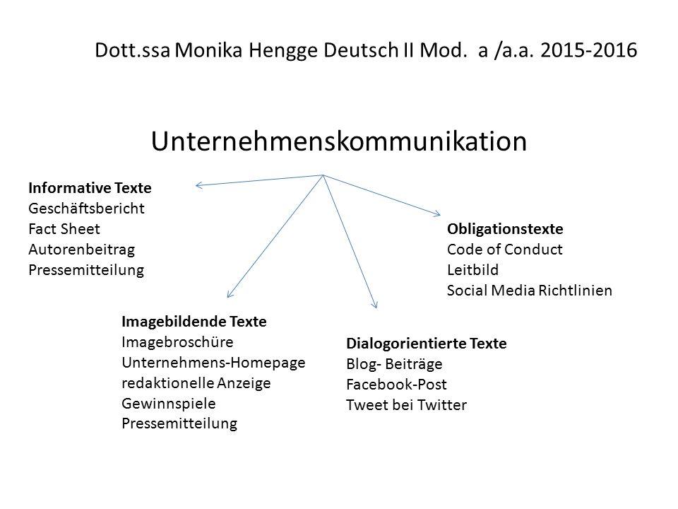 Dott.ssa Monika Hengge Deutsch II Mod.a /a.a.