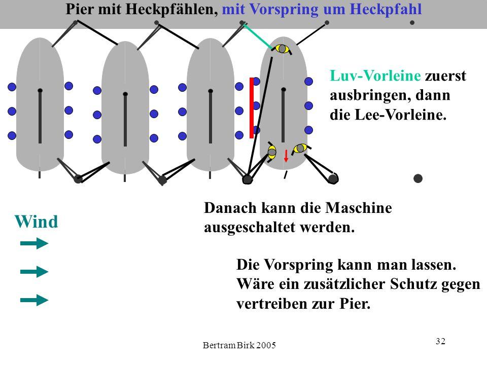 Bertram Birk 2005 32 Pier mit Heckpfählen, mit Vorspring um Heckpfahl Wind Luv-Vorleine zuerst ausbringen, dann die Lee-Vorleine.