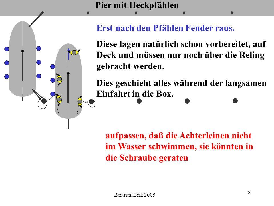 Bertram Birk 2005 9 Pier mit Heckpfählen Mindestens 1 Person geht zum Bug, Distanz zur Pier deutlich nach hinten ansagen, später die Vorleinen zu bedienen eventuell gefühlvoll bremsen