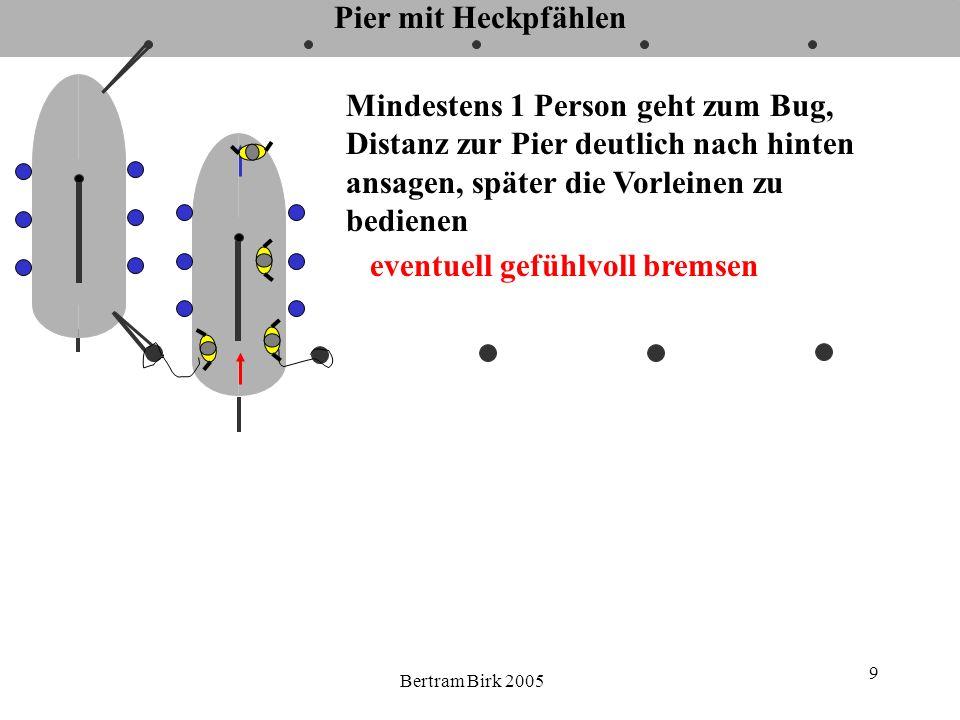 Bertram Birk 2005 30 Pier mit Heckpfählen, mit Vorspring um Heckpfahl Wind Gegebenenfalls Vorspring nach Bedarf vorsichtig fieren.