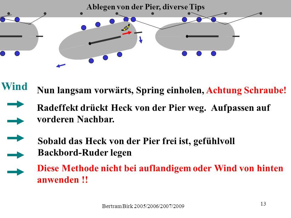 Bertram Birk 2005/2006/2007/2009 13 Wind Sobald das Heck von der Pier frei ist, gefühlvoll Backbord-Ruder legen Diese Methode nicht bei auflandigem oder Wind von hinten anwenden !.