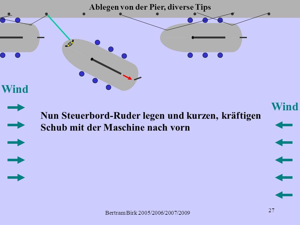 Bertram Birk 2005/2006/2007/2009 27 Wind Nun Steuerbord-Ruder legen und kurzen, kräftigen Schub mit der Maschine nach vorn Wind Ablegen von der Pier, diverse Tips