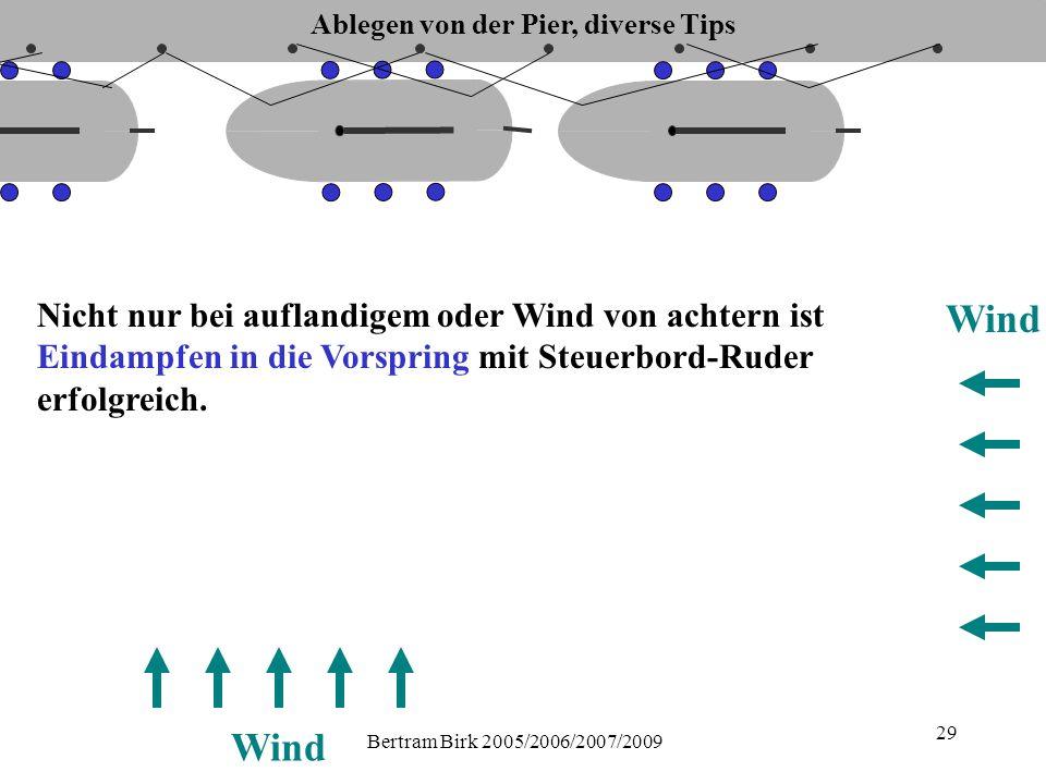Bertram Birk 2005/2006/2007/2009 29 Nicht nur bei auflandigem oder Wind von achtern ist Eindampfen in die Vorspring mit Steuerbord-Ruder erfolgreich.