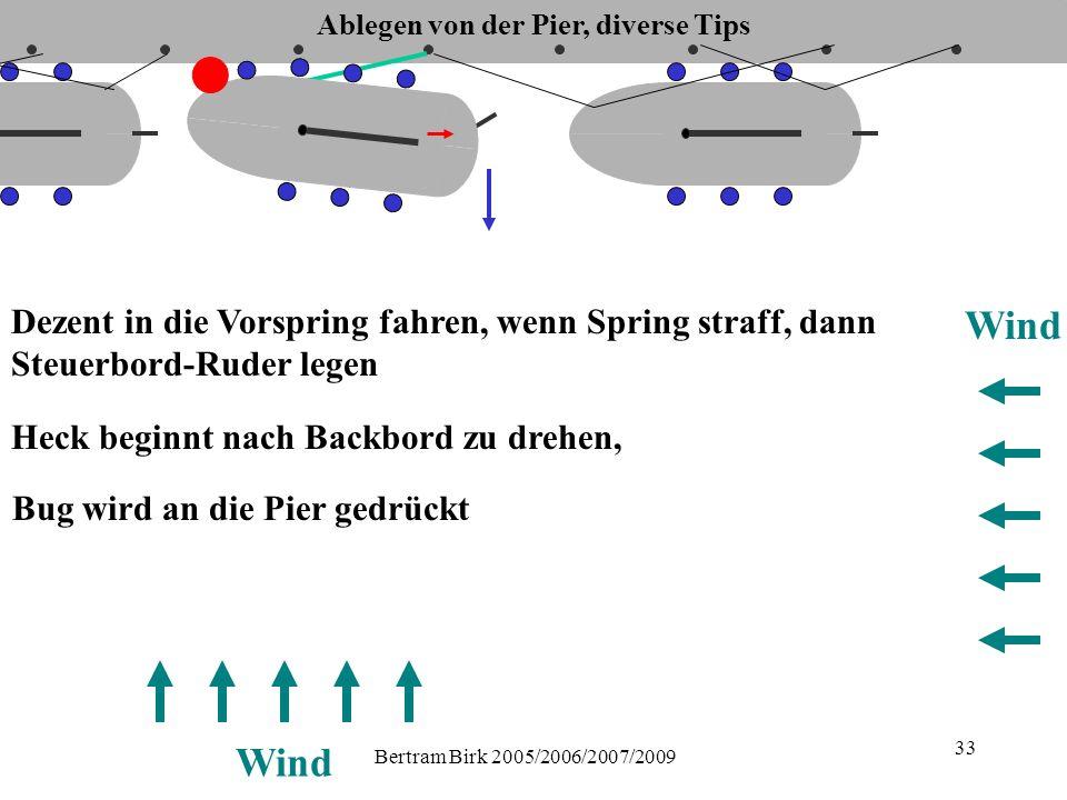Bertram Birk 2005/2006/2007/2009 33 Dezent in die Vorspring fahren, wenn Spring straff, dann Steuerbord-Ruder legen Wind Heck beginnt nach Backbord zu drehen, Bug wird an die Pier gedrückt Ablegen von der Pier, diverse Tips