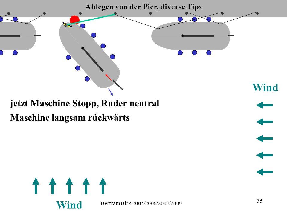 Bertram Birk 2005/2006/2007/2009 35 Wind jetzt Maschine Stopp, Ruder neutral Maschine langsam rückwärts Ablegen von der Pier, diverse Tips