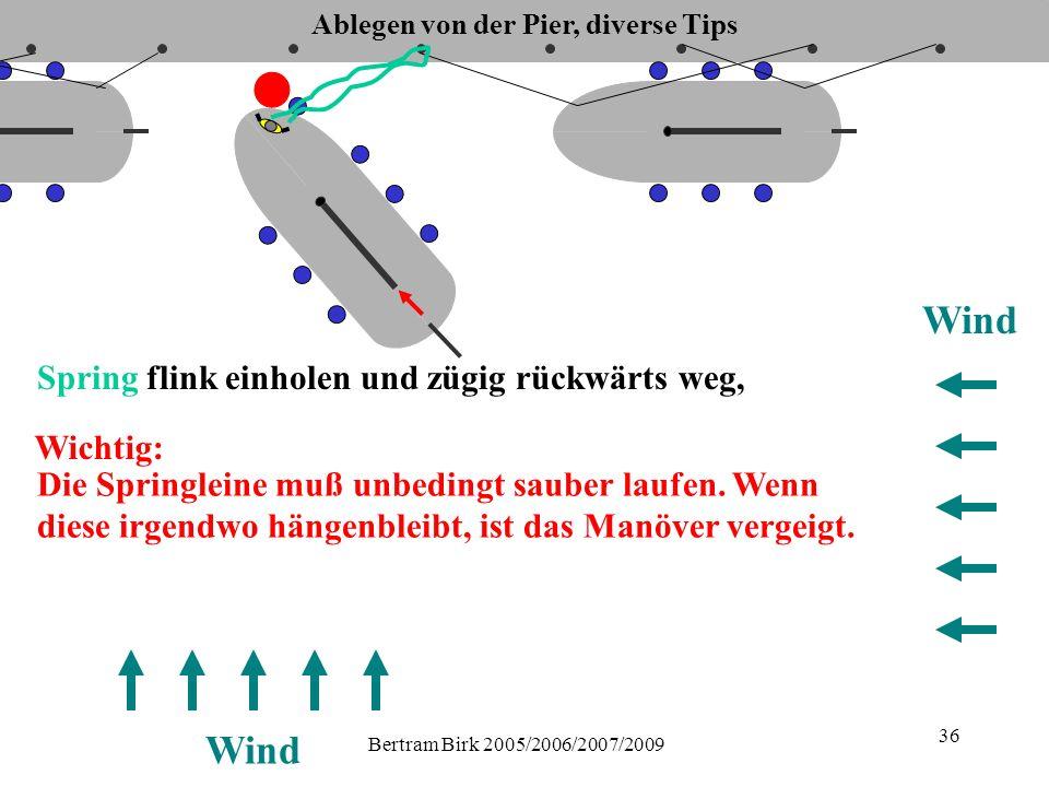 Bertram Birk 2005/2006/2007/2009 36 Wind Spring flink einholen und zügig rückwärts weg, Die Springleine muß unbedingt sauber laufen.