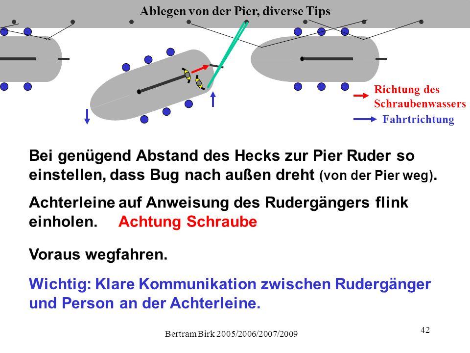 Bertram Birk 2005/2006/2007/2009 42 Ablegen von der Pier, diverse Tips Fahrtrichtung Richtung des Schraubenwassers Bei genügend Abstand des Hecks zur Pier Ruder so einstellen, dass Bug nach außen dreht (von der Pier weg).
