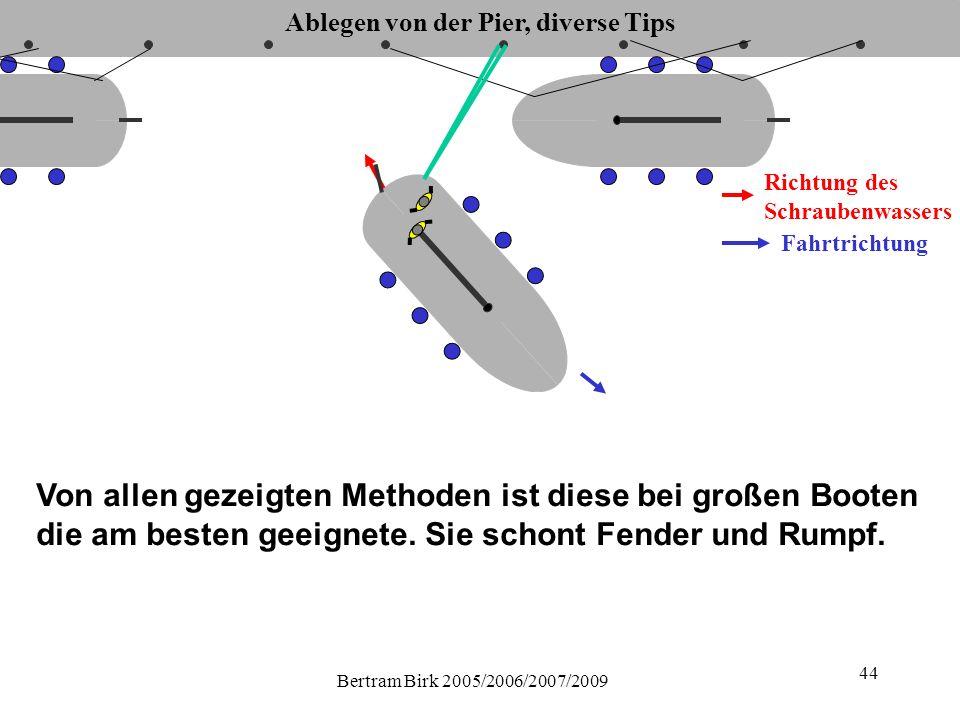 Bertram Birk 2005/2006/2007/2009 44 Ablegen von der Pier, diverse Tips Fahrtrichtung Richtung des Schraubenwassers Von allen gezeigten Methoden ist diese bei großen Booten die am besten geeignete.