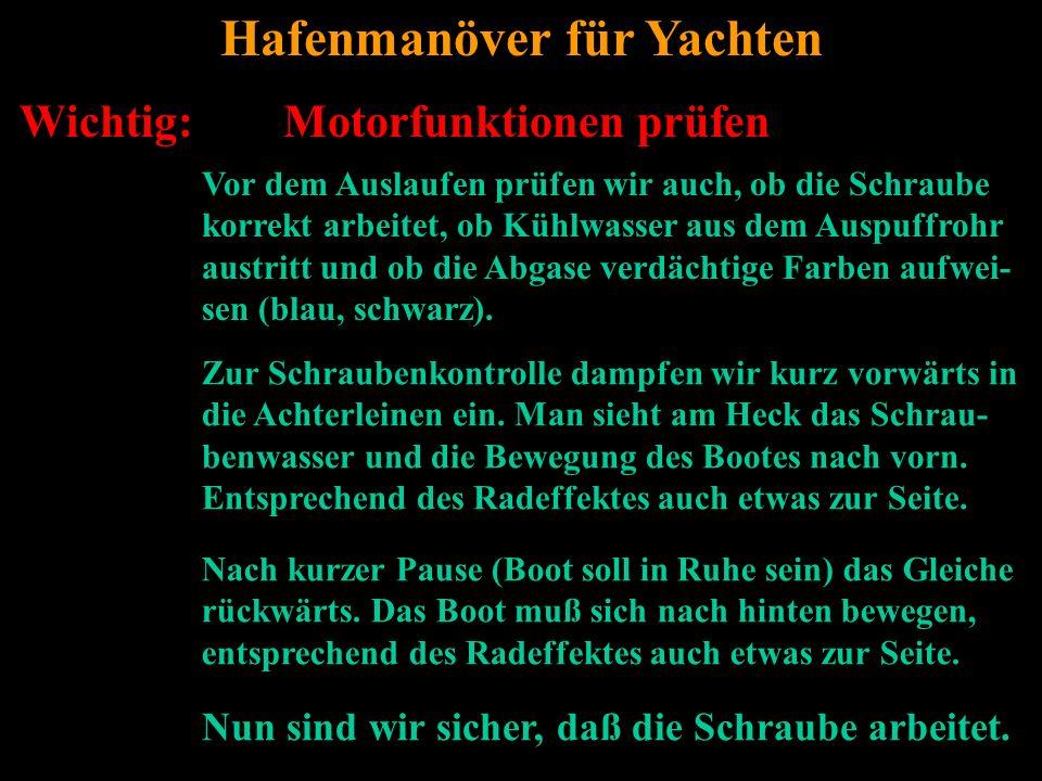 Bertram Birk 2005/2006/2007/2009 5 Wichtig: Motorfunktionen prüfen Hafenmanöver für Yachten Vor dem Auslaufen prüfen wir auch, ob die Schraube korrekt arbeitet, ob Kühlwasser aus dem Auspuffrohr austritt und ob die Abgase verdächtige Farben aufwei- sen (blau, schwarz).