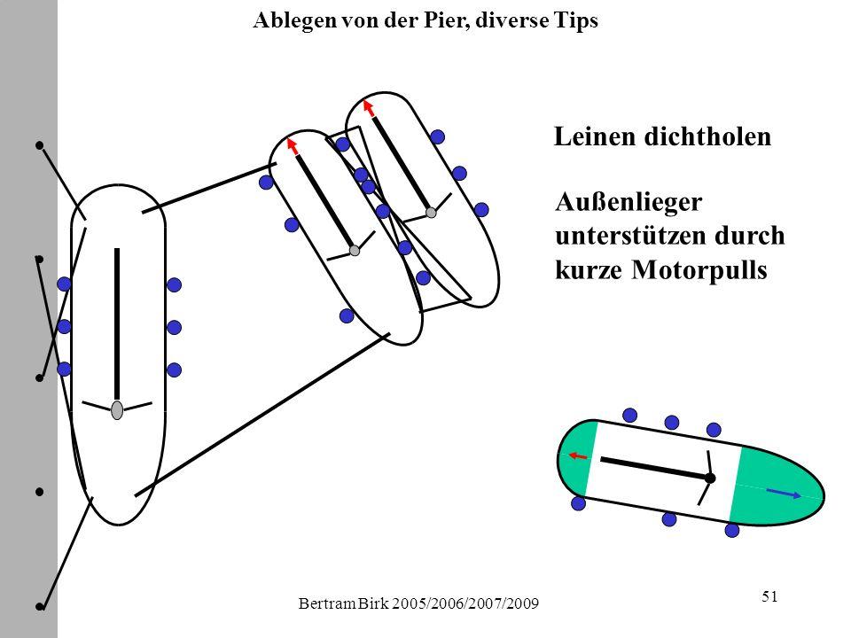 Bertram Birk 2005/2006/2007/2009 51 Leinen dichtholen Außenlieger unterstützen durch kurze Motorpulls Ablegen von der Pier, diverse Tips