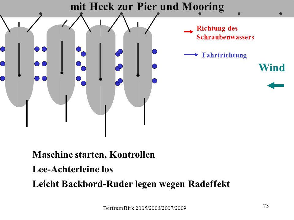 Bertram Birk 2005/2006/2007/2009 73 mit Heck zur Pier und Mooring Fahrtrichtung Richtung des Schraubenwassers Maschine starten, Kontrollen Lee-Achterleine los Wind Leicht Backbord-Ruder legen wegen Radeffekt