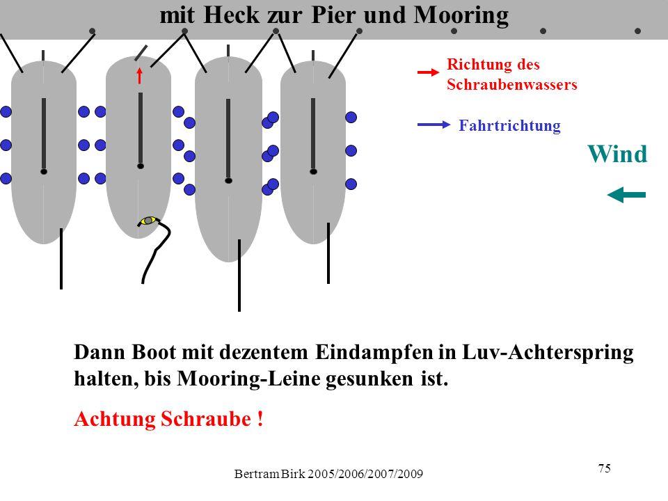 Bertram Birk 2005/2006/2007/2009 75 mit Heck zur Pier und Mooring Fahrtrichtung Richtung des Schraubenwassers Wind Dann Boot mit dezentem Eindampfen in Luv-Achterspring halten, bis Mooring-Leine gesunken ist.