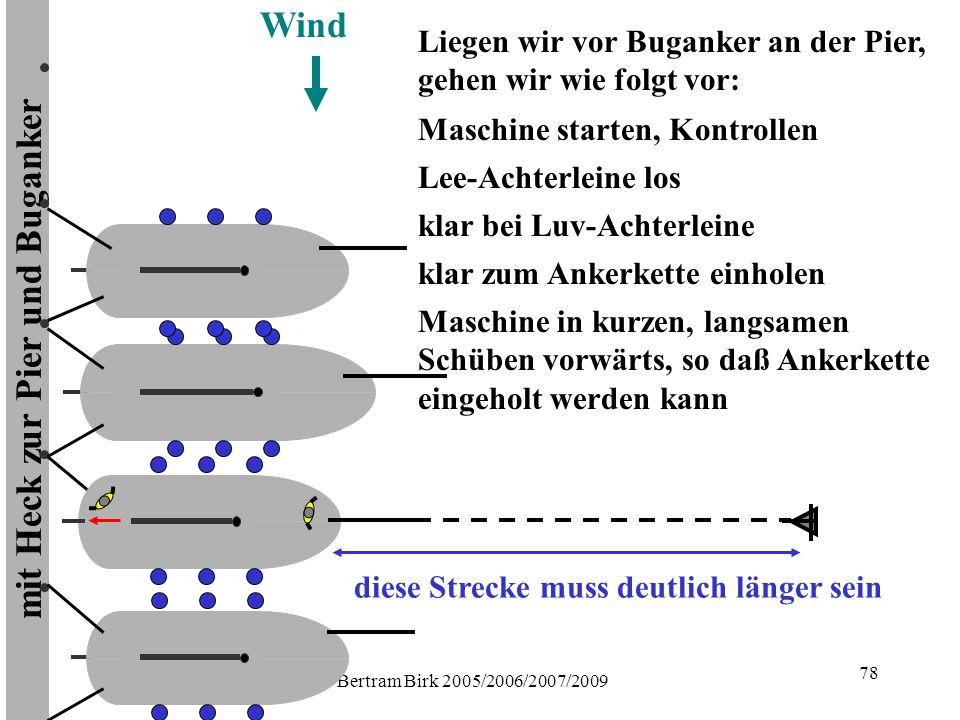 Bertram Birk 2005/2006/2007/2009 78 mit Heck zur Pier und Buganker Wind Maschine starten, Kontrollen Liegen wir vor Buganker an der Pier, gehen wir wie folgt vor: Lee-Achterleine los klar bei Luv-Achterleine klar zum Ankerkette einholen Maschine in kurzen, langsamen Schüben vorwärts, so daß Ankerkette eingeholt werden kann diese Strecke muss deutlich länger sein