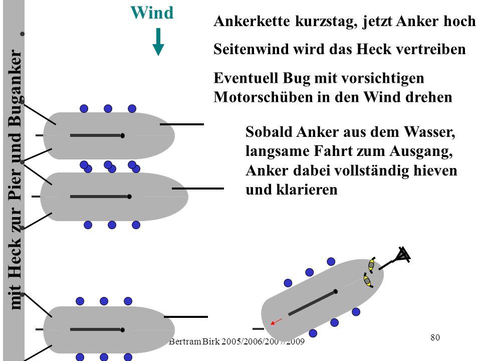 Bertram Birk 2005/2006/2007/2009 80 mit Heck zur Pier und Buganker Wind Sobald Anker aus dem Wasser, langsame Fahrt zum Ausgang, Anker dabei vollständig hieven und klarieren Ankerkette kurzstag, jetzt Anker hoch Eventuell Bug mit vorsichtigen Motorschüben in den Wind drehen Seitenwind wird das Heck vertreiben