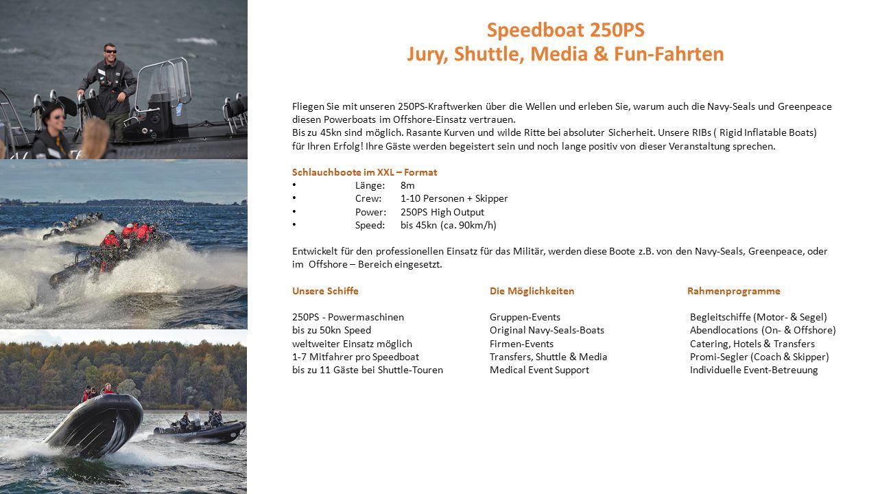 Fliegen Sie mit unseren 250PS-Kraftwerken über die Wellen und erleben Sie, warum auch die Navy-Seals und Greenpeace diesen Powerboats im Offshore-Einsatz vertrauen.