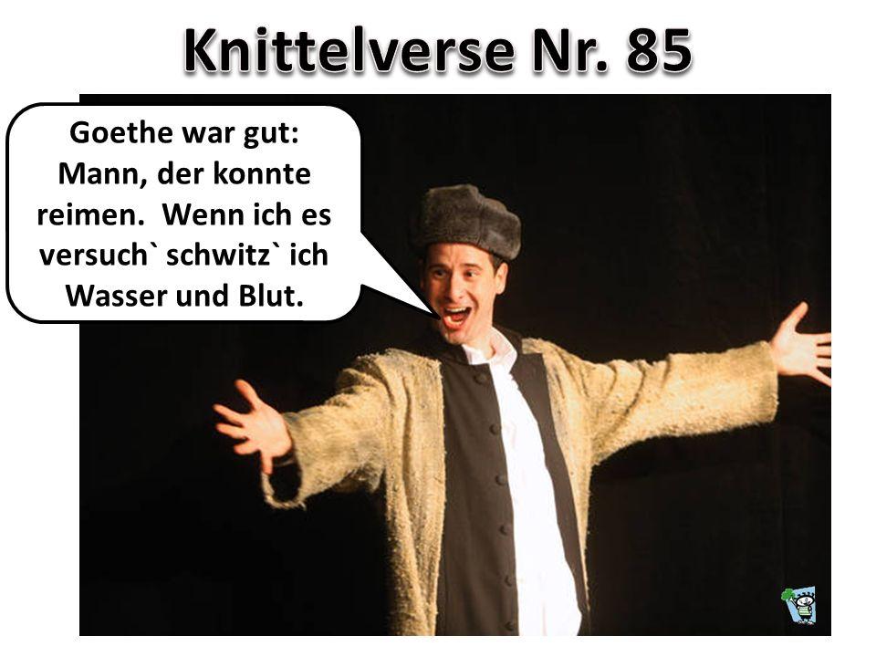 Goethe war gut: Mann, der konnte reimen. Wenn ich es versuch` schwitz` ich Wasser und Blut.
