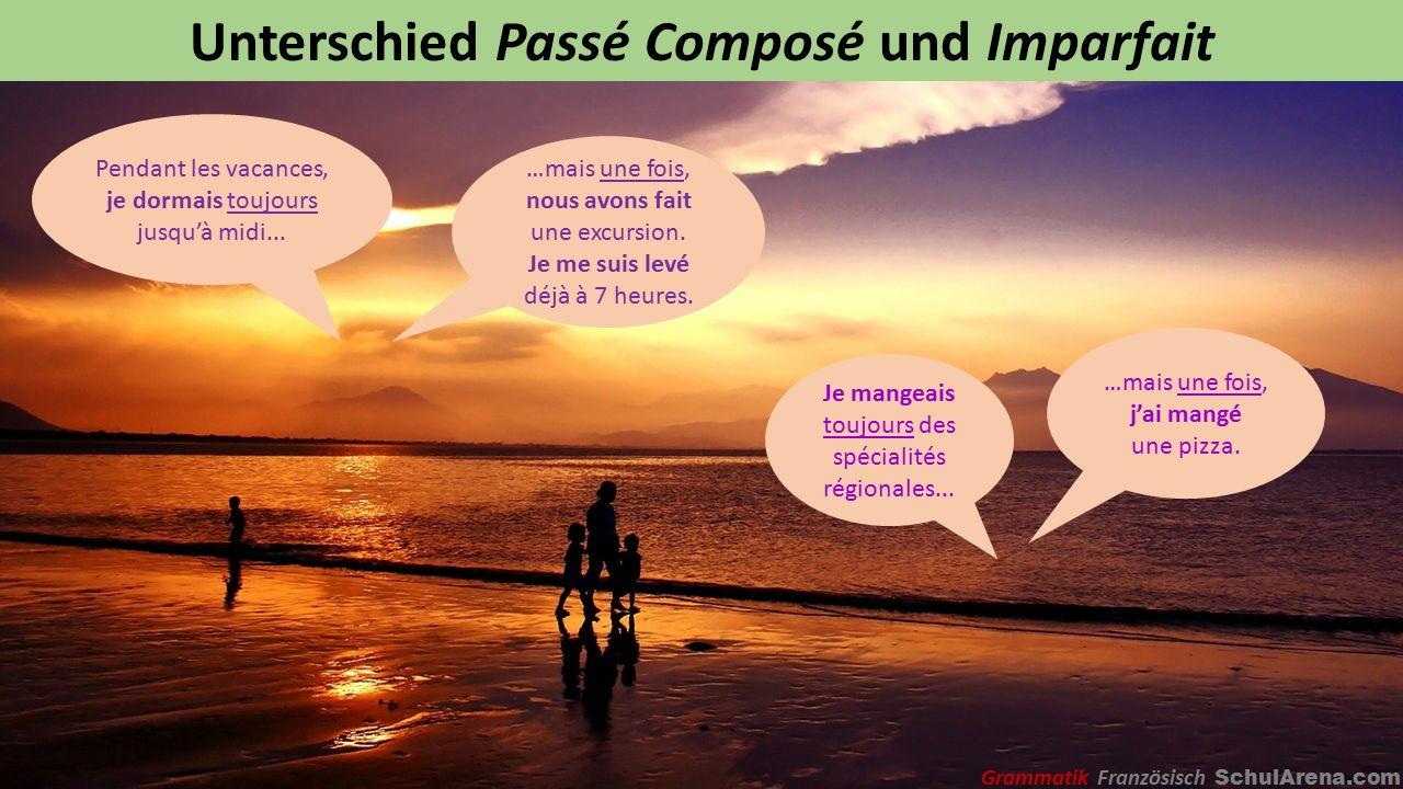 Unterschied Passé Composé und Imparfait Pendant les vacances, je dormais toujours jusqu'à midi...