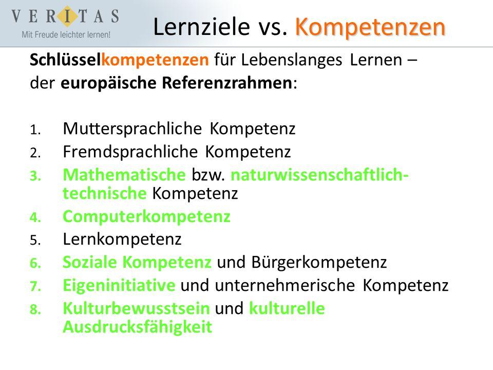 Kompetenzen Lernziele vs.