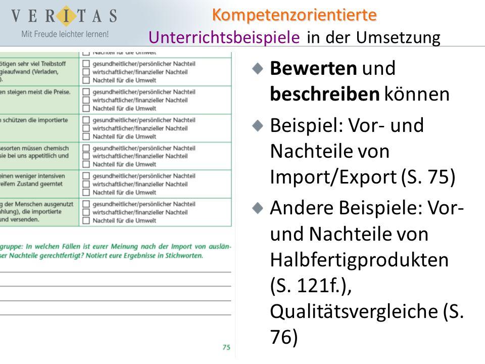 Kompetenzorientierte Kompetenzorientierte Unterrichtsbeispiele in der Umsetzung Bewerten und beschreiben können Beispiel: Vor- und Nachteile von Import/Export (S.