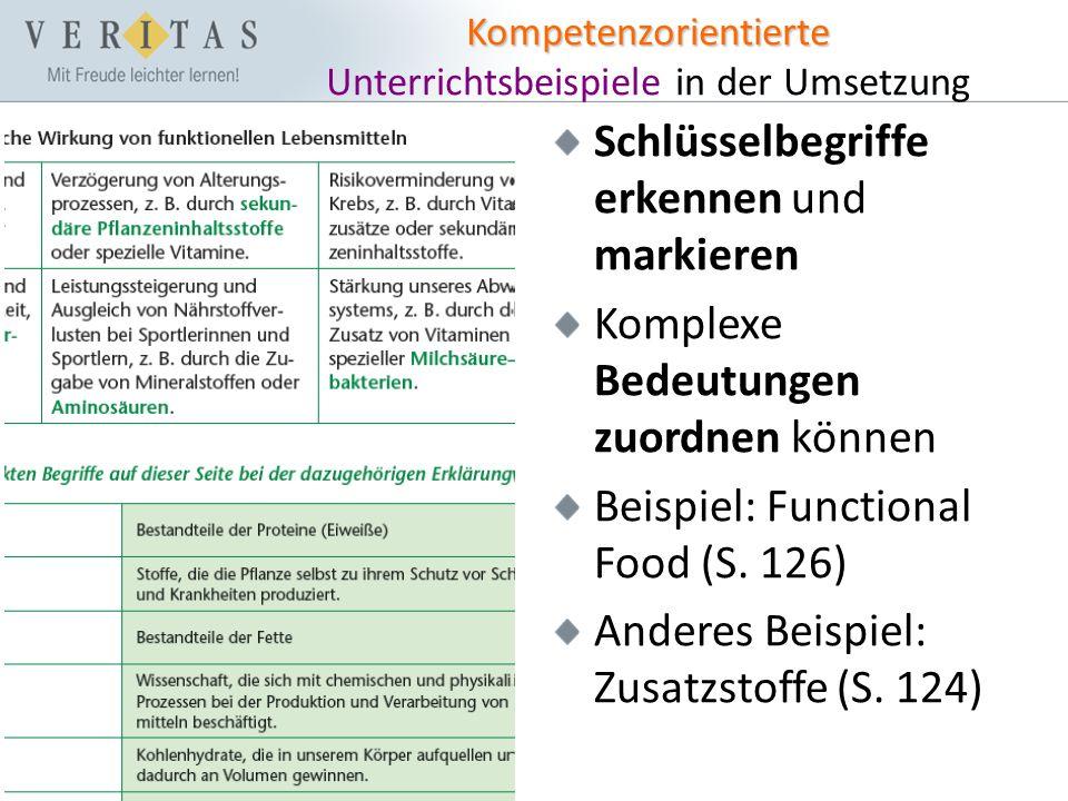 Kompetenzorientierte Kompetenzorientierte Unterrichtsbeispiele in der Umsetzung Schlüsselbegriffe erkennen und markieren Komplexe Bedeutungen zuordnen können Beispiel: Functional Food (S.