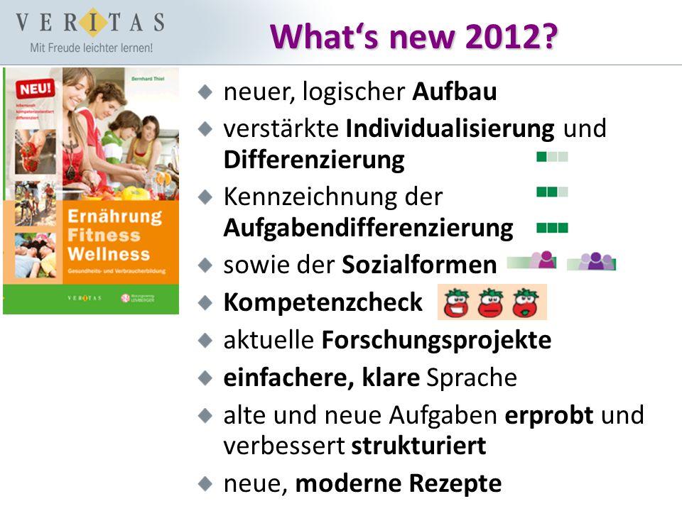 What's new 2012? neuer, logischer Aufbau verstärkte Individualisierung und Differenzierung Kennzeichnung der Aufgabendifferenzierung sowie der Sozialf