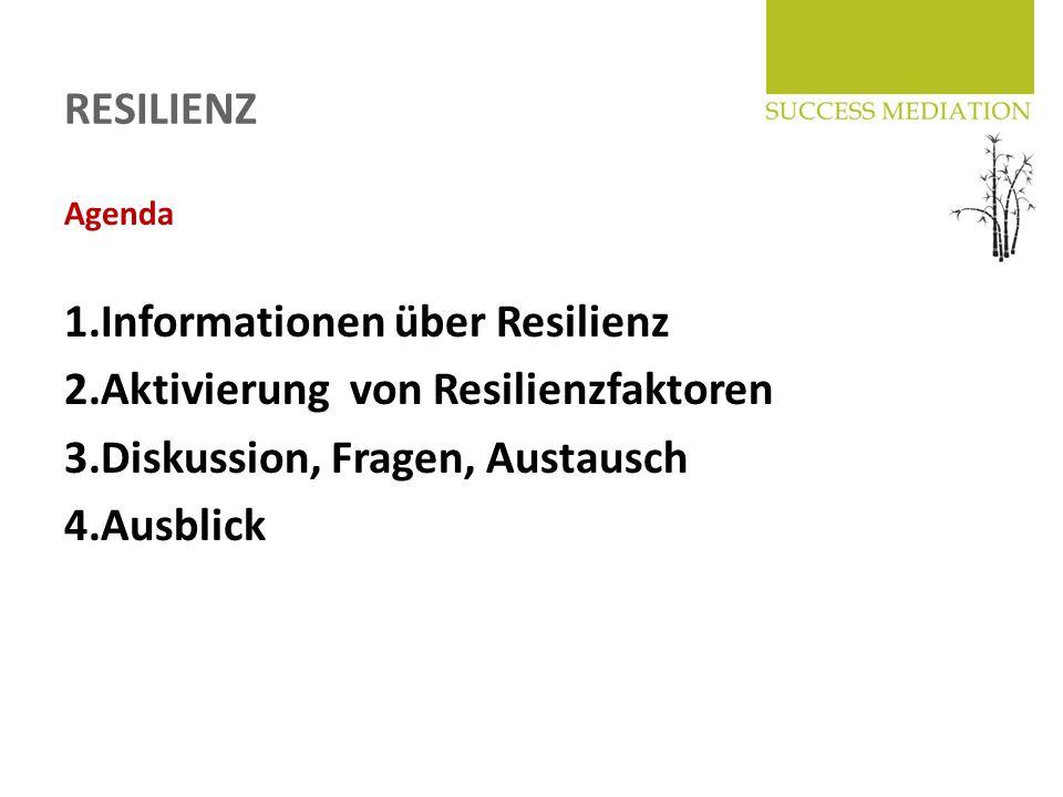 RESILIENZ Agenda 1.Informationen über Resilienz 2.Aktivierung von Resilienzfaktoren 3.Diskussion, Fragen, Austausch 4.Ausblick