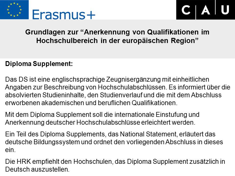 Grundlagen zur Anerkennung von Qualifikationen im Hochschulbereich in der europäischen Region Diploma Supplement: Das DS ist eine englischsprachige Zeugnisergänzung mit einheitlichen Angaben zur Beschreibung von Hochschulabschlüssen.