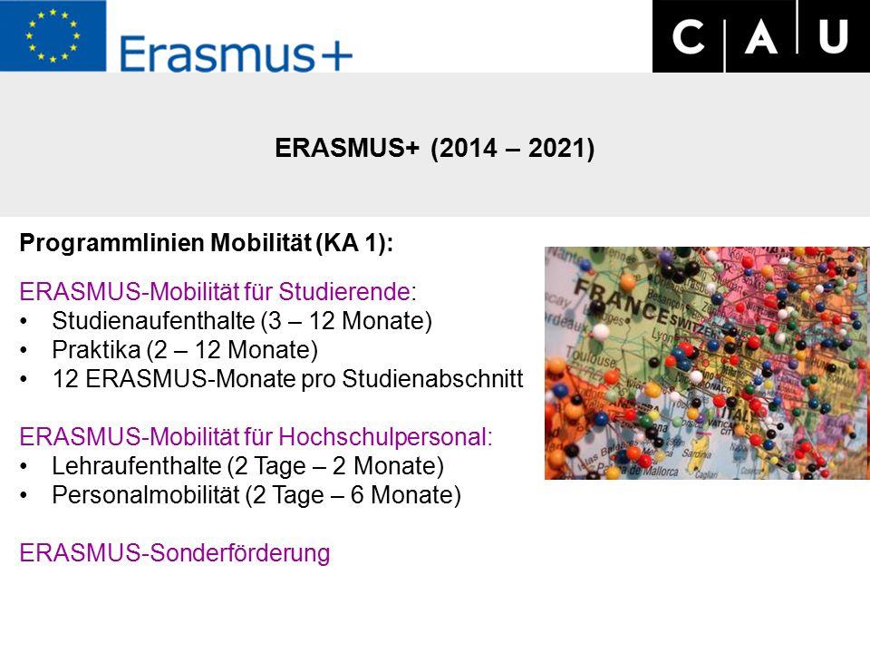 ERASMUS+ (2014 – 2021) Programmlinien Mobilität (KA 1): ERASMUS-Mobilität für Studierende: Studienaufenthalte (3 – 12 Monate) Praktika (2 – 12 Monate) 12 ERASMUS-Monate pro Studienabschnitt ERASMUS-Mobilität für Hochschulpersonal: Lehraufenthalte (2 Tage – 2 Monate) Personalmobilität (2 Tage – 6 Monate) ERASMUS-Sonderförderung