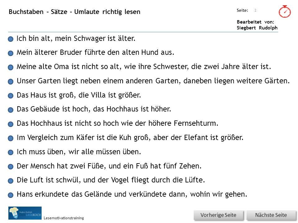 Übungsart: Seite: Bearbeitet von: Siegbert Rudolph Lesemotivationstraining Buchstaben – Sätze – Umlaute richtig lesen Ich bin alt, mein Schwager ist ä