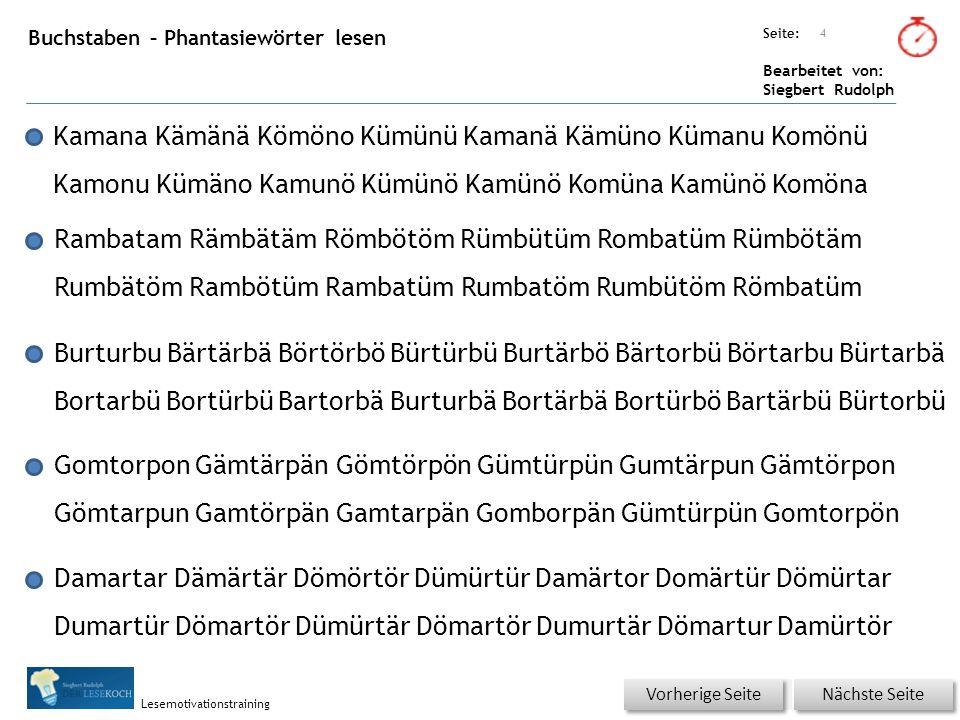 Übungsart: Seite: Bearbeitet von: Siegbert Rudolph Lesemotivationstraining Buchstaben – Phantasiewörter lesen Kamana Kämänä Kömöno Kümünü Kamanä Kämün
