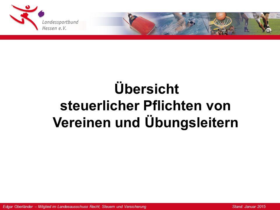 Edgar Oberländer – Mitglied im Landesausschuss Recht, Steuern und Versicherung Stand: Januar 2015 Übersicht steuerlicher Pflichten von Vereinen und Üb