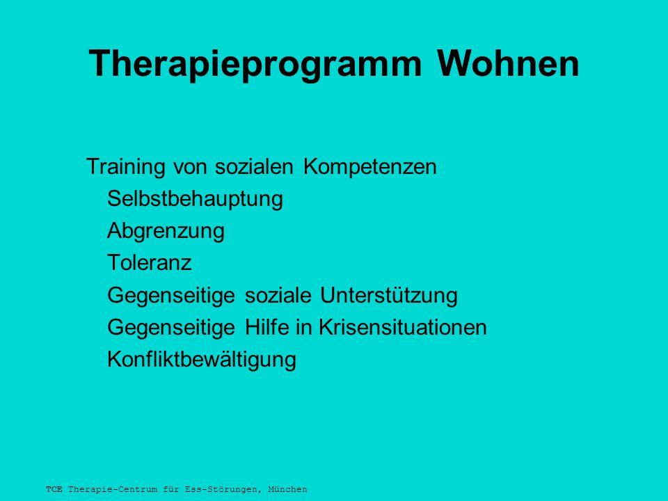 TCE Therapie-Centrum für Ess-Störungen, München Therapieprogramm Wohnen Training von sozialen Kompetenzen Selbstbehauptung Abgrenzung Toleranz Gegenseitige soziale Unterstützung Gegenseitige Hilfe in Krisensituationen Konfliktbewältigung