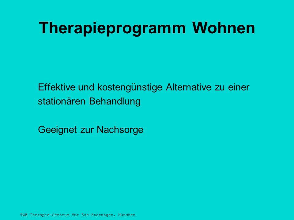 TCE Therapie-Centrum für Ess-Störungen, München Therapieprogramm Wohnen Effektive und kostengünstige Alternative zu einer stationären Behandlung Geeignet zur Nachsorge