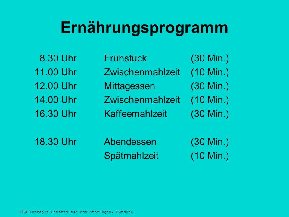 TCE Therapie-Centrum für Ess-Störungen, München Ernährungsprogramm 8.30 Uhr Frühstück(30 Min.) 11.00 UhrZwischenmahlzeit(10 Min.) 12.00 UhrMittagessen(30 Min.) 14.00 UhrZwischenmahlzeit(10 Min.) 16.30 UhrKaffeemahlzeit(30 Min.) 18.30 UhrAbendessen(30 Min.) Spätmahlzeit(10 Min.)