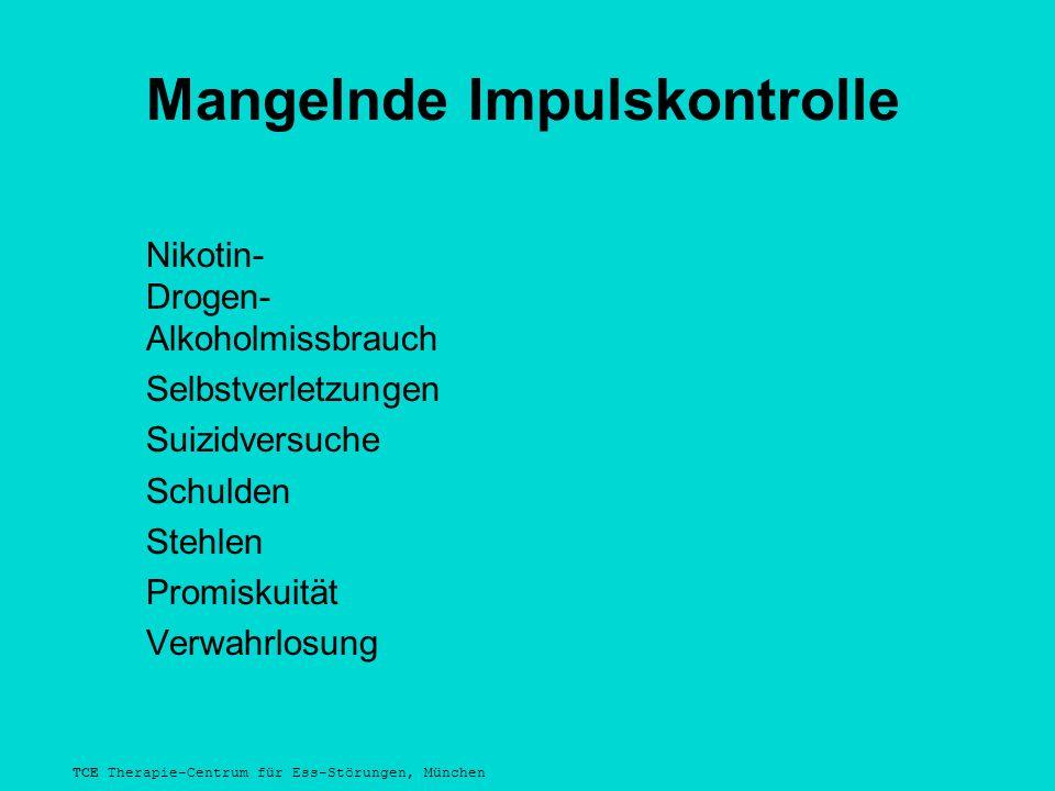 TCE Therapie-Centrum für Ess-Störungen, München Mangelnde Impulskontrolle Nikotin- Drogen- Alkoholmissbrauch Selbstverletzungen Suizidversuche Schulden Stehlen Promiskuität Verwahrlosung