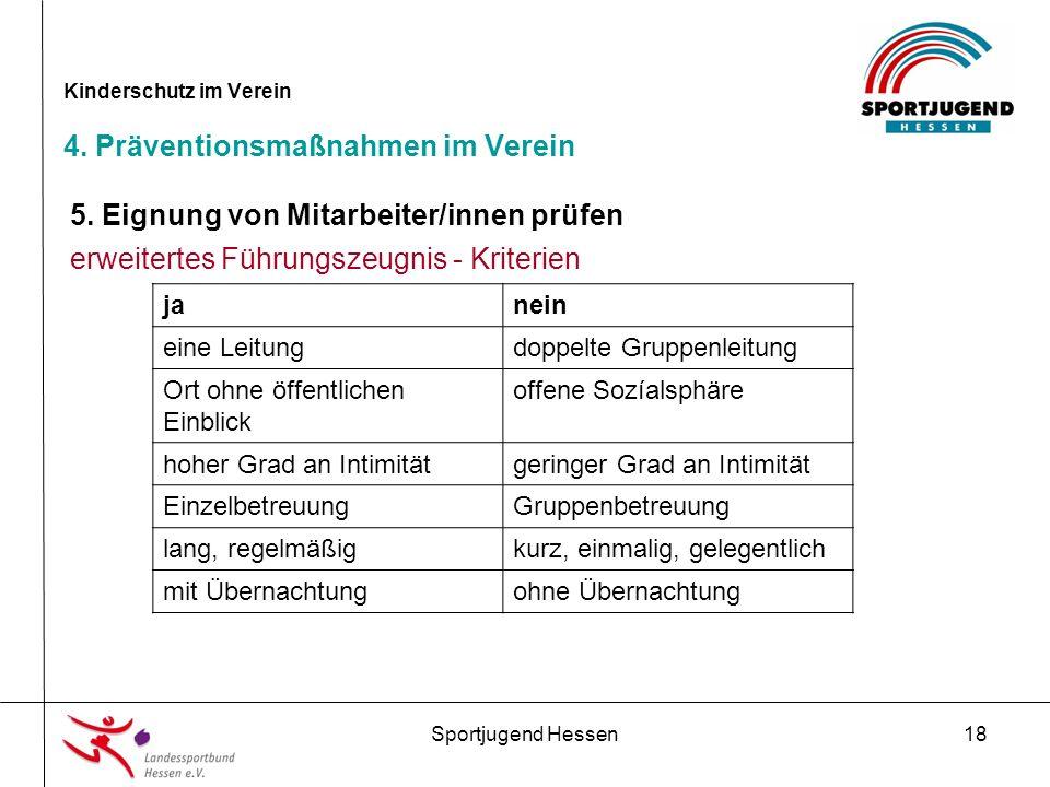 Sportjugend Hessen18 Kinderschutz im Verein 4. Präventionsmaßnahmen im Verein 5.