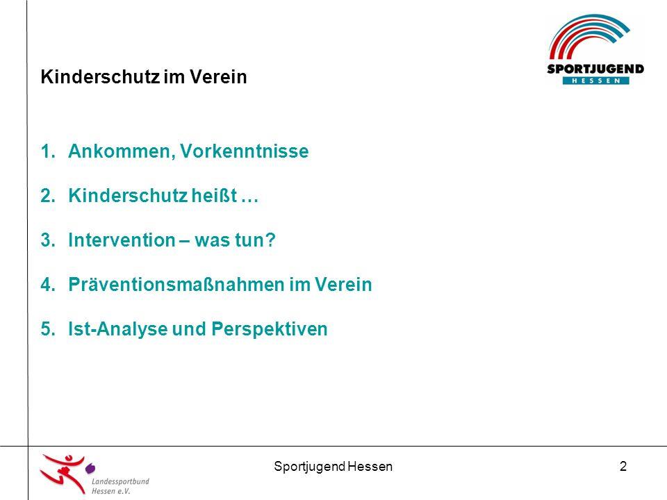 Sportjugend Hessen13 Kinderschutz im Verein 4.Präventionsmaßnahmen im Verein 1.