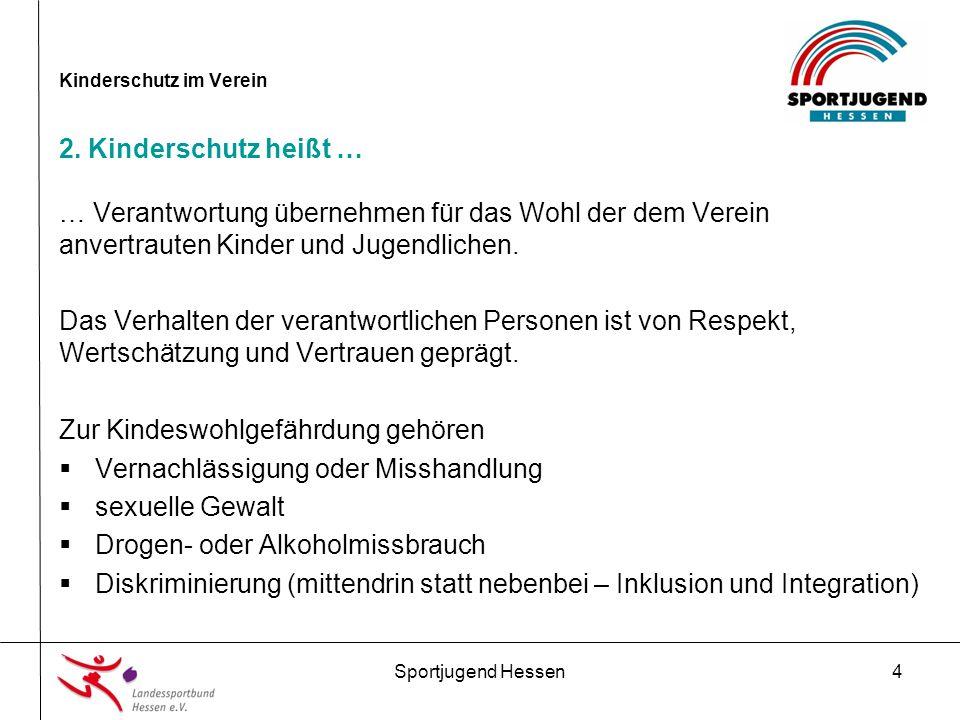 Sportjugend Hessen15 Kinderschutz im Verein 4.Präventionsmaßnahmen im Verein 3.