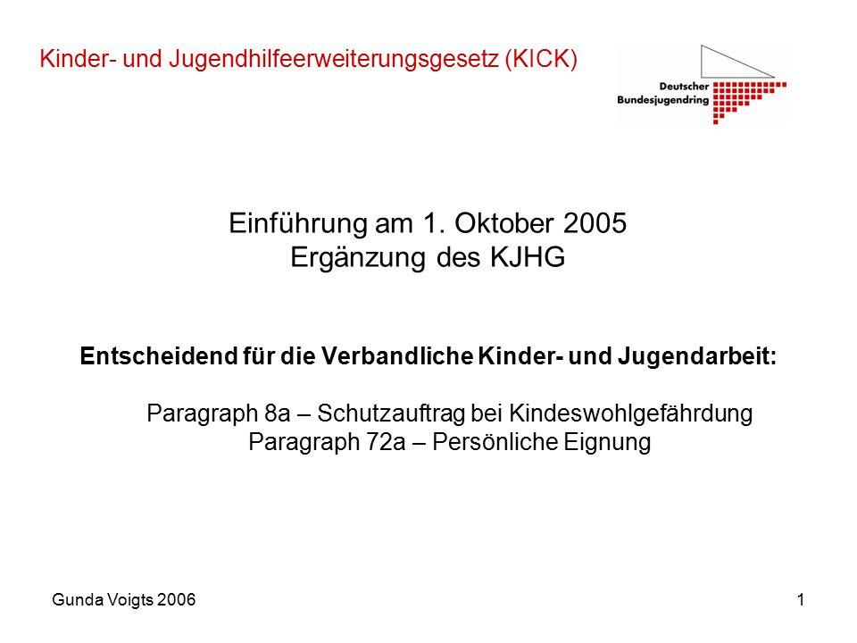 Gunda Voigts 20061 Kinder- und Jugendhilfeerweiterungsgesetz (KICK) Einführung am 1.