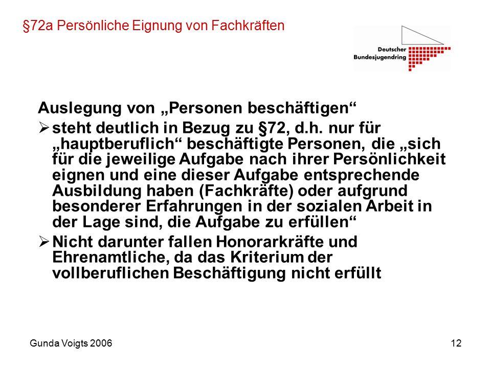 """Gunda Voigts 200612 §72a Persönliche Eignung von Fachkräften Auslegung von """"Personen beschäftigen  steht deutlich in Bezug zu §72, d.h."""