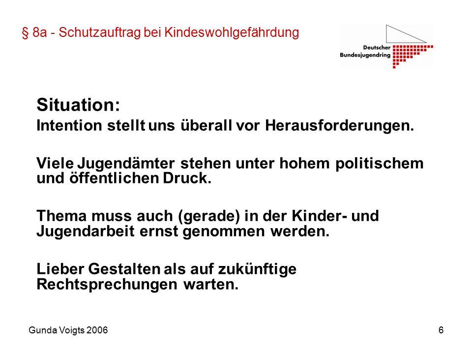 Gunda Voigts 20066 § 8a - Schutzauftrag bei Kindeswohlgefährdung Situation: Intention stellt uns überall vor Herausforderungen.