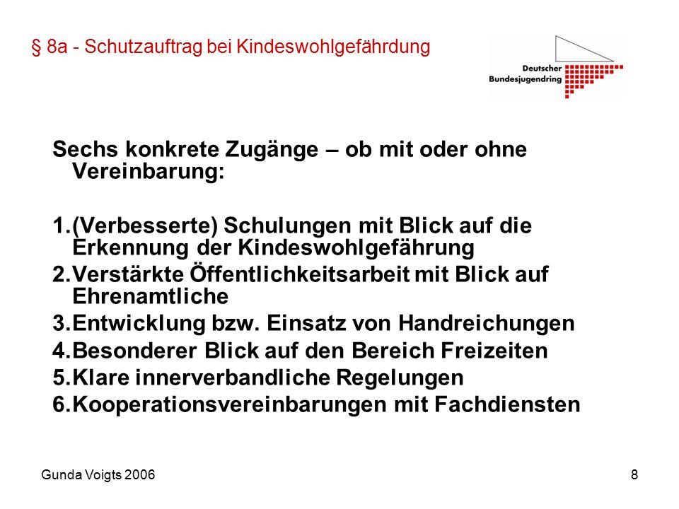 Gunda Voigts 20068 § 8a - Schutzauftrag bei Kindeswohlgefährdung Sechs konkrete Zugänge – ob mit oder ohne Vereinbarung: 1.(Verbesserte) Schulungen mit Blick auf die Erkennung der Kindeswohlgefährung 2.Verstärkte Öffentlichkeitsarbeit mit Blick auf Ehrenamtliche 3.Entwicklung bzw.