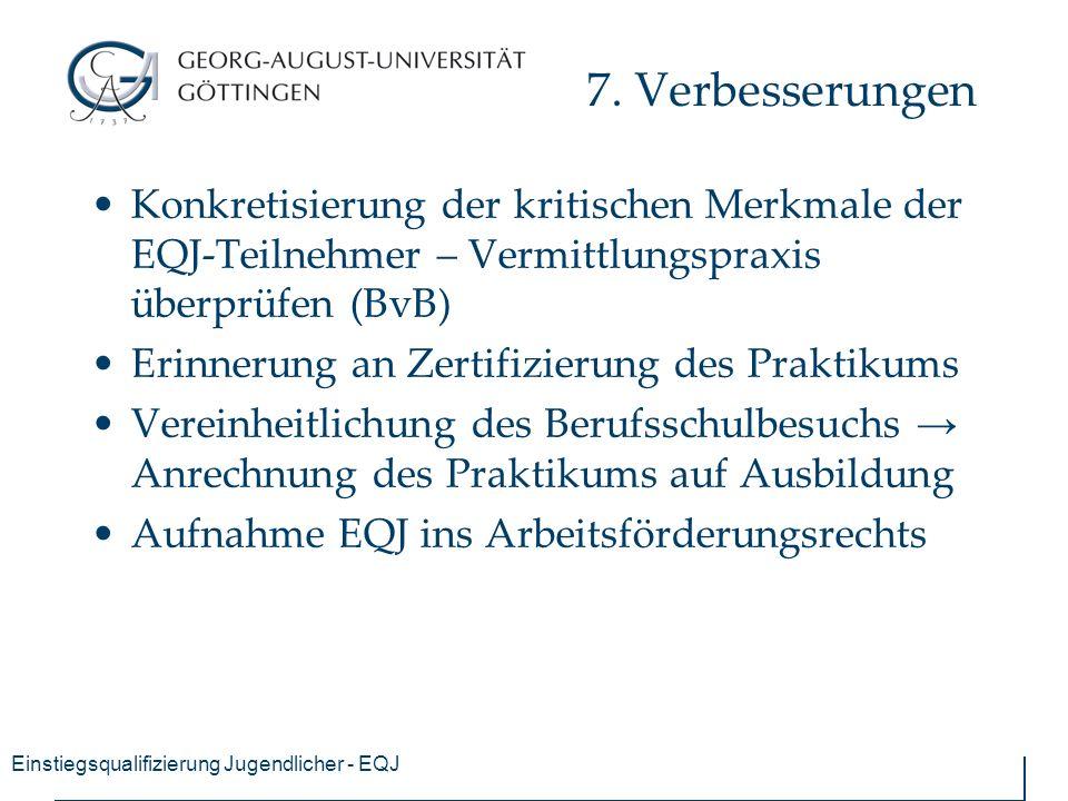 Einstiegsqualifizierung Jugendlicher - EQJ 7.