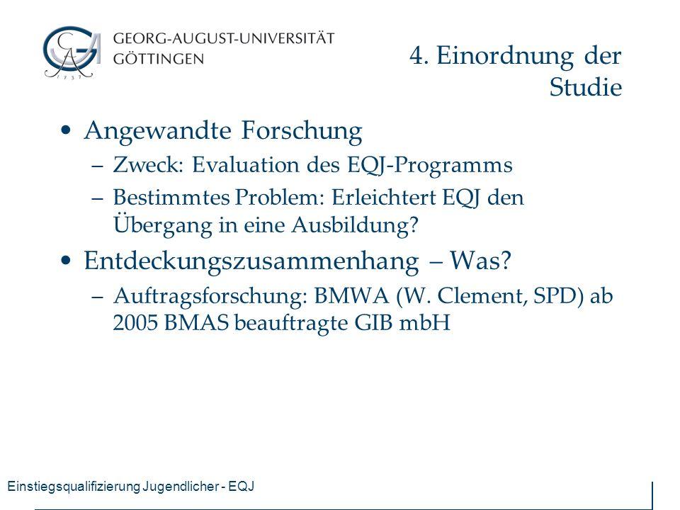 Einstiegsqualifizierung Jugendlicher - EQJ 4. Einordnung der Studie Angewandte Forschung –Zweck: Evaluation des EQJ-Programms –Bestimmtes Problem: Erl