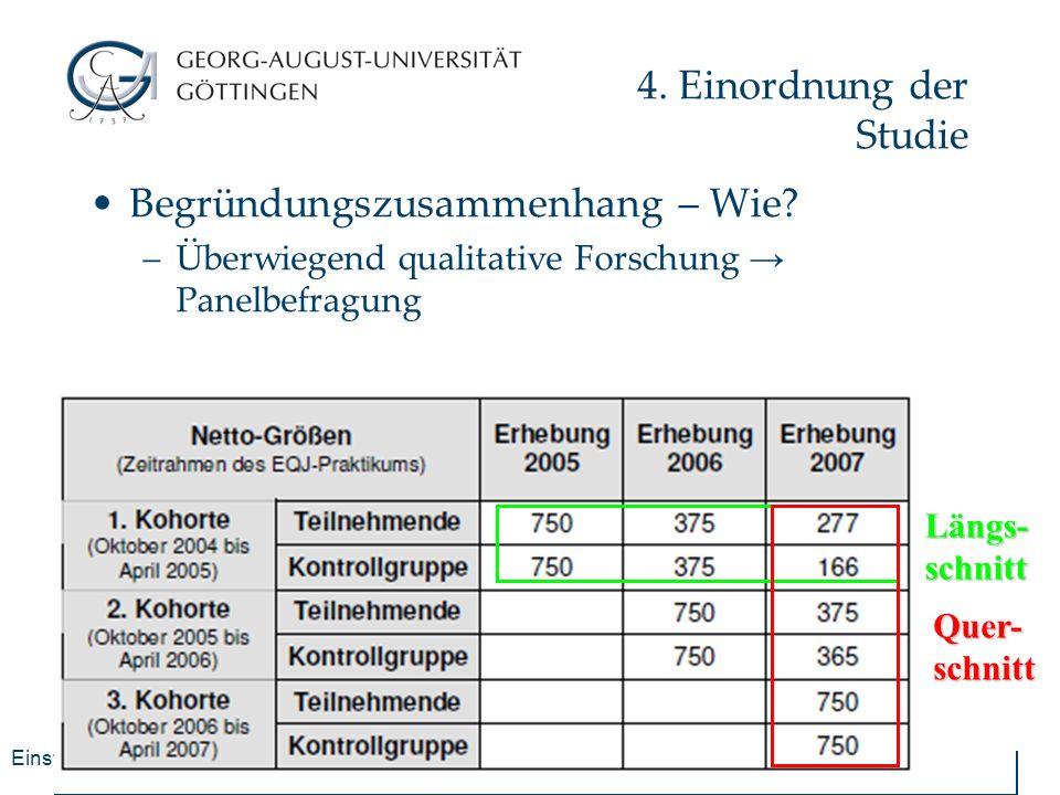 Einstiegsqualifizierung Jugendlicher - EQJ 4. Einordnung der Studie Begründungszusammenhang – Wie? –Überwiegend qualitative Forschung → Panelbefragung