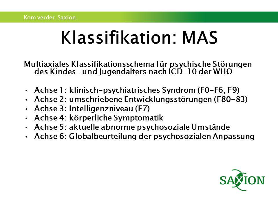 Kom verder. Saxion. Klassifikation: MAS Multiaxiales Klassifikationsschema für psychische Störungen des Kindes- und Jugendalters nach ICD-10 der WHO A