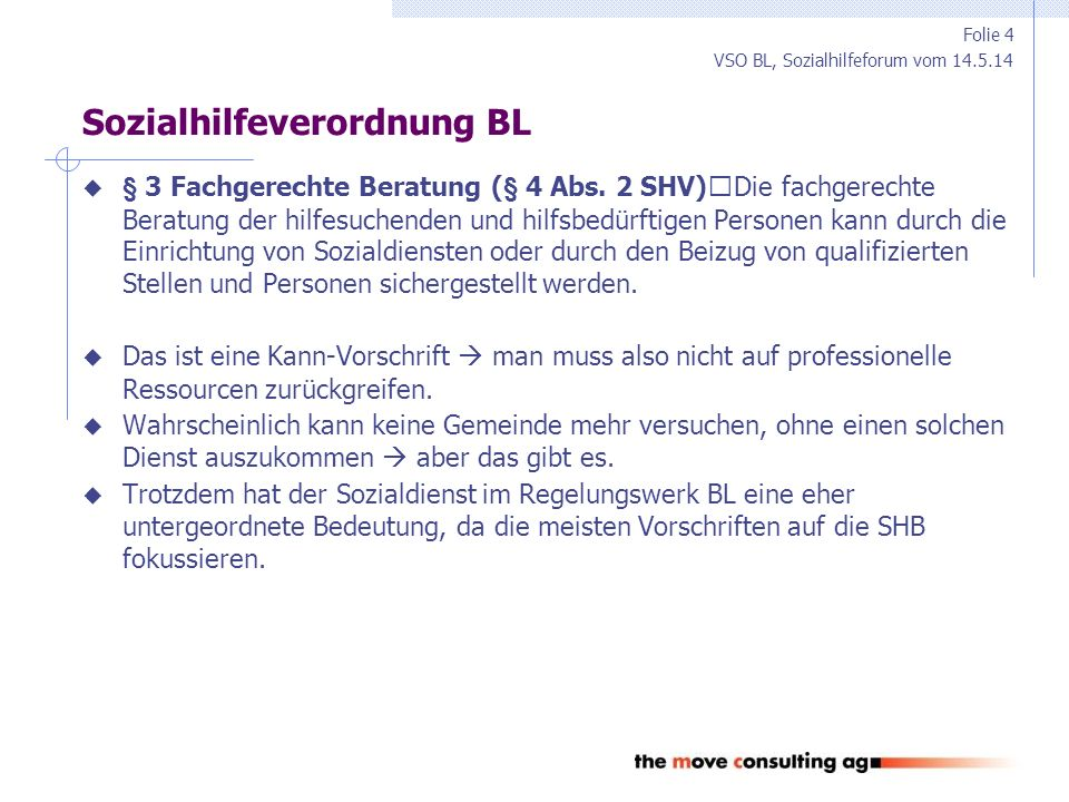 """VSO BL, Sozialhilfeforum vom 14.5.14 Stärken und Schwächen BL und ZH  Stärken System BL und ZH Hohe Legitimation der Entscheidungen in der Sozialhilfe (""""Bürgernähe ) Unabhängiger Blick auf die Sozialhilfe Fachkräfte aus verschiedenen Bereichen als Mitglieder der Sozialbehörden  Schwächen System BL und ZH """"Bürgernähe ist falscher Ansatzpunkt: Bei der Steuerverwaltung gibt es auch keine """"Bürgernähe Eingriff in operative Fachlichkeit Konkurrierende Führung durch Sozialbehörde, Gemeinde und Kanton  sind SAR Interessenvertreter der Klienten, Sozialbehörde, Gemeinde oder gar des Kantons."""