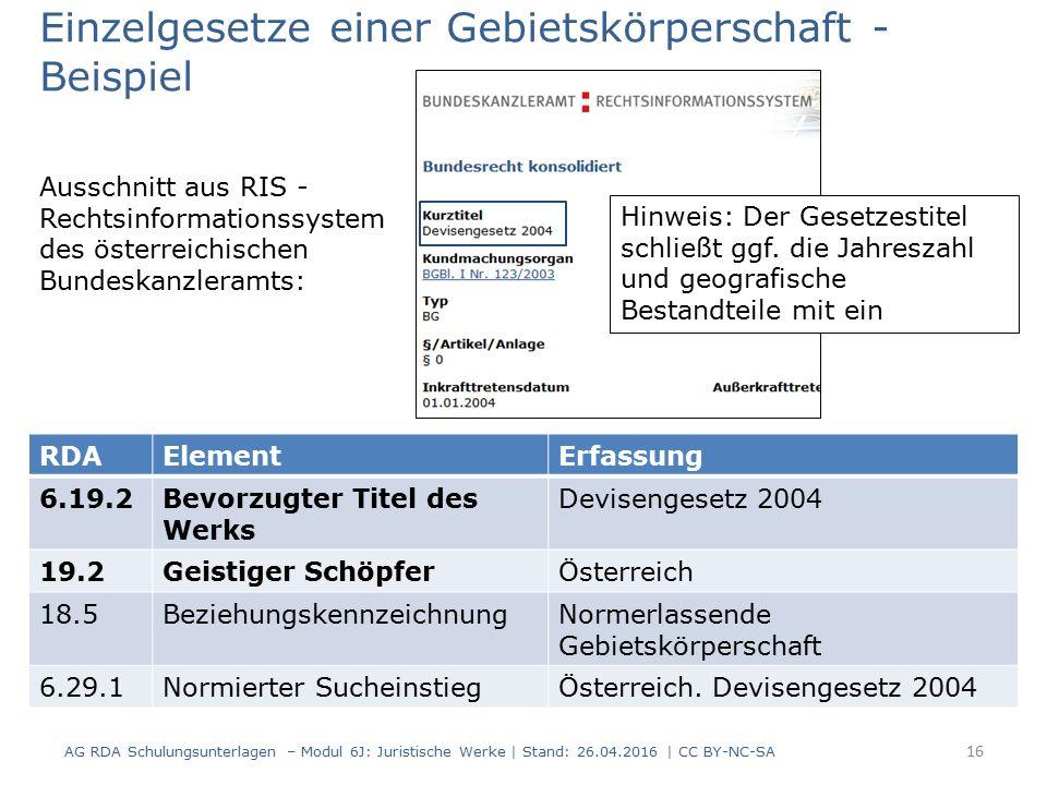 Einzelgesetze einer Gebietskörperschaft - Beispiel Ausschnitt aus RIS - Rechtsinformationssystem des österreichischen Bundeskanzleramts: RDAElementErfassung 6.19.2Bevorzugter Titel des Werks Devisengesetz 2004 19.2Geistiger SchöpferÖsterreich 18.5BeziehungskennzeichnungNormerlassende Gebietskörperschaft 6.29.1Normierter SucheinstiegÖsterreich.