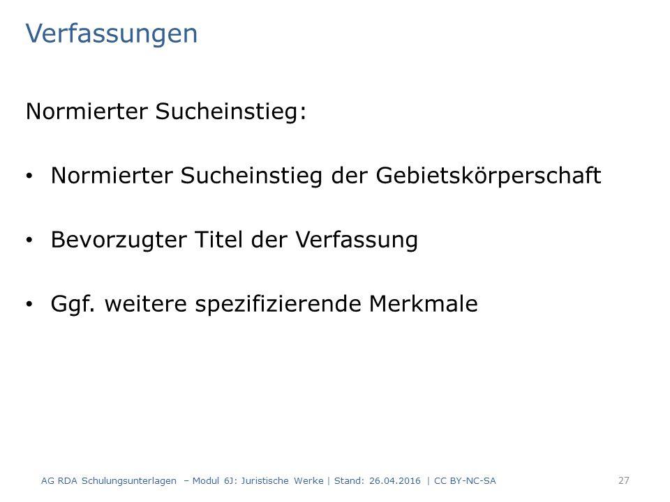 Verfassungen Normierter Sucheinstieg: Normierter Sucheinstieg der Gebietskörperschaft Bevorzugter Titel der Verfassung Ggf.